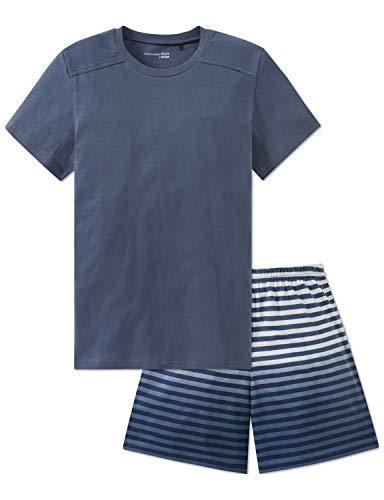 Schiesser Jungen Anzug kurz Zweiteiliger Schlafanzug, Blau (Jeansblau 816), 176 (Herstellergröße: L)