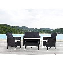 BOJU - Juego de 4 sillas y Mesa de ratán para jardín, Incluye 2 sillones