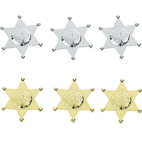 Elfen und Zwerge - Sheriffstern - Anstecknadel Deputy - Silber & Gold - für Kinder & Erwachsene - Kostümzubehör - 6 Stück (Sheriff Deputy Kostüm)
