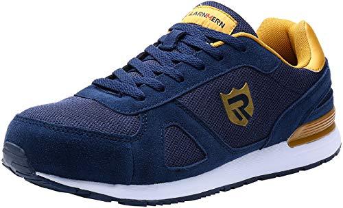 LARNMERN Sicherheitsschuhe Herren Damen, SRC rutschfeste Schuhe Arbeitsschuhe mit Stahlkappe Sportlich Schutzschuhe (43 EU Blau)