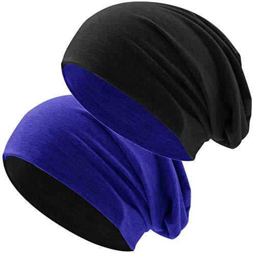 Hatstar Klassische Jersey Slouch Long Beanie Mütze, leicht und weich, Reversible Bicolor für Damen und Herren Wintermütze (Zwei-farbig | Bicolor royal-schwarz) -