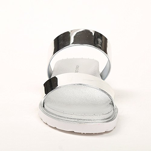 Ideal-Shoes Nu-piedi con doppie effetto strisce Felicina vernice Argento