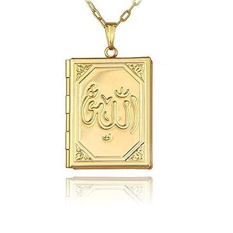 Koran Islam Allah Medaillon Amulett Halskette Anhänger Gold Vergoldet Quran