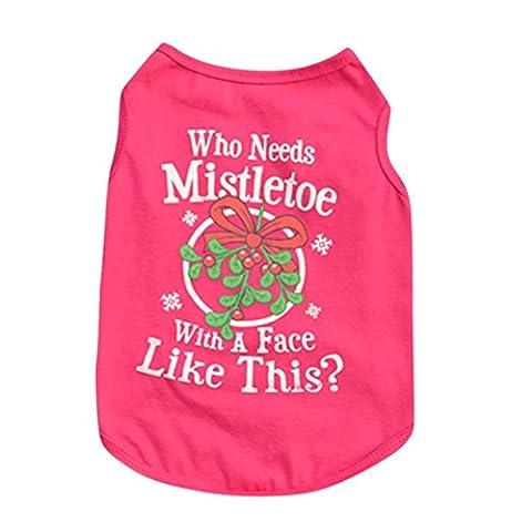 saingace 1New Fashion de Noël mignon comfortabe pour chien Pet chiot gilet sans manches pour homme en coton imprimé lettre T-shirt pour homme