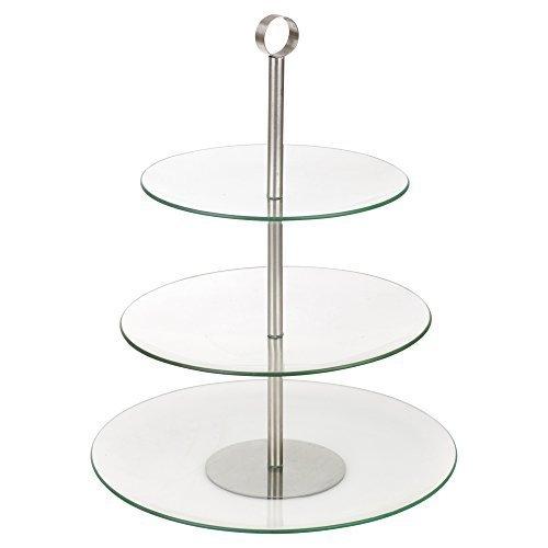 Silver Cake Server (Glas, die Speisen Servieren Display Kuchen Ständer, 3 Tier Round)