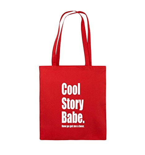 Comedy Bags - Cool Story Babe now get me a beer - Jutebeutel - lange Henkel - 38x42cm - Farbe: Schwarz / Silber Rot / Weiss