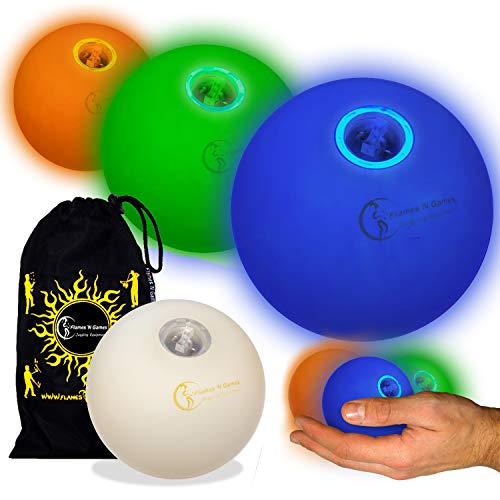 3X LED-Licht bis Kugeln Jonglierbälle 3er Set - Profi LED bälle+ Reisetasche! Blau/Grün/Orange (Licht Bis Jonglierbälle)