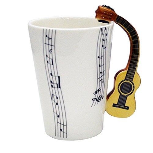 Giftgarden Kaffeetasse Teebecher mit gelber Gitarre-Griff porzellanene Tasse und Becher lustige Tasse für Musiklieber oder als Geschenke für Freund