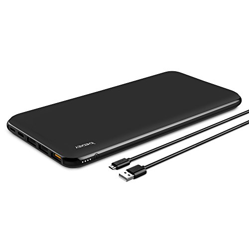 ICHECKEY 20000mAh Smart QC3.0 Handy Powerbank Schnellladefunktion Lightning+Type C+Micro USB Input Quick Charge Portable Power Pack Ultraslim Externer Akku für iPhone iPad Samsung Galaxy(Schwarz)