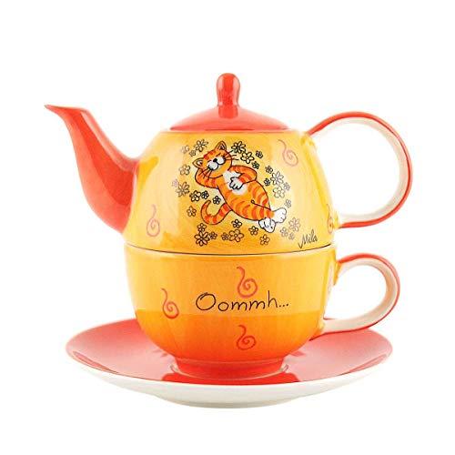 440s Mila Keramik Tee-Set: Tea for One, Oommh Katze Verschnaufpause | MI-99195 | 4045303991958