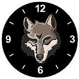'Cristal Reloj 'Cabeza de lobo Lobo lobos rudel Familia Luna Llena jaulen de reloj de pared...
