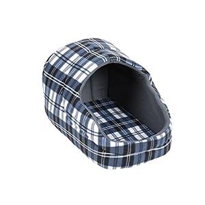 Hundebett mit Dach Schotten-Größe M-Blau