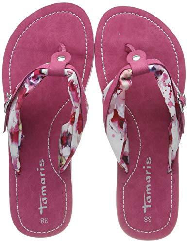 Tamaris Damen 1-1-27109-22 Pantoletten, Pink (Fuxia Flower 543), 37 EU - Damen Pink Schuhe