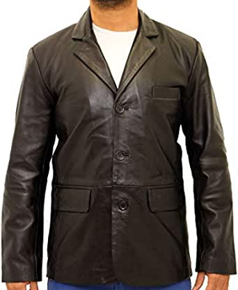 Mens Smart Classic Tailored Cut Fitted Three Button Leather Blazer in Black, Tan & Dark Brown
