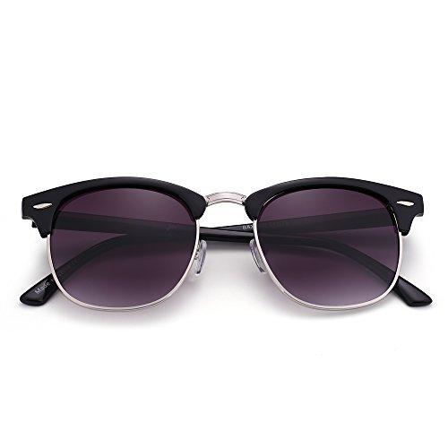 JM Retro Sonnenbrille Halb Randlos Browline Brillen Zum Dame Herre Verlaufsglas Linsen UV400(Glänzend Schwarz/Verlaufsglas Grau)