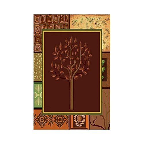 Liumiang Eco-Friendly Manual Custom Garden Flag Demonstration Flag Game Flag,Primitive,Tree Figure on African Tribal Motifs Leaf Floral Ornaments Native Folk Patterns,Brown Green décor -