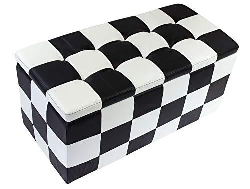 Avanti trendstore - storage - pouf contenitore in similpelle, disponibile in bianco, nero o a scacchi, dimensioni: lap 85x40x40 cm (a scacchi)