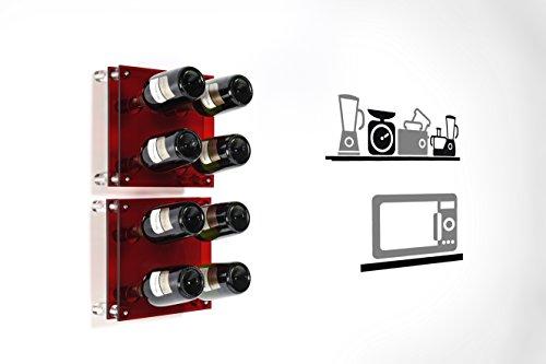 Iplex-Design-Divino-Small-Portabottiglie-da-Parete-PlexiglassPMMA-Rosso-Trasparente