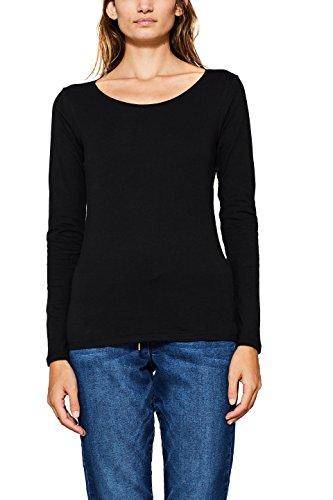 edc by ESPRIT Damen Langarmshirt 087CC1K056, Schwarz (Black 001), X-Small
