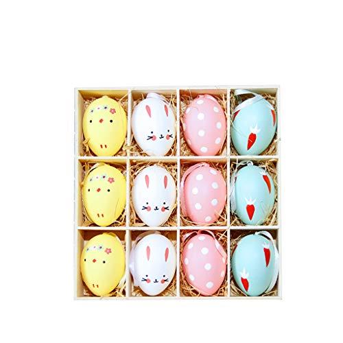 LCLrute 12 stücke Zufall Mixed Farbe Ostern Dekoration Kinder DIY Malerei Ei Seil Geschenke Kunststoff Hängen Ostern Spielzeug für Kinder
