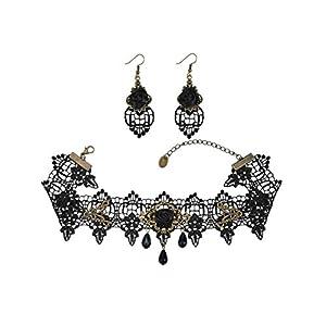 Mudder Schwarze Rose Spitze Gothic Lolita Halskette Chocker Kette Ohrring Set