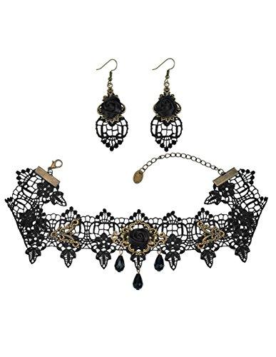 Mudder Juego de gargantilla y pendientes; gargantilla de encaje con cuentas colgantes y detalle de rosa negra; estilo gótico Lolita.