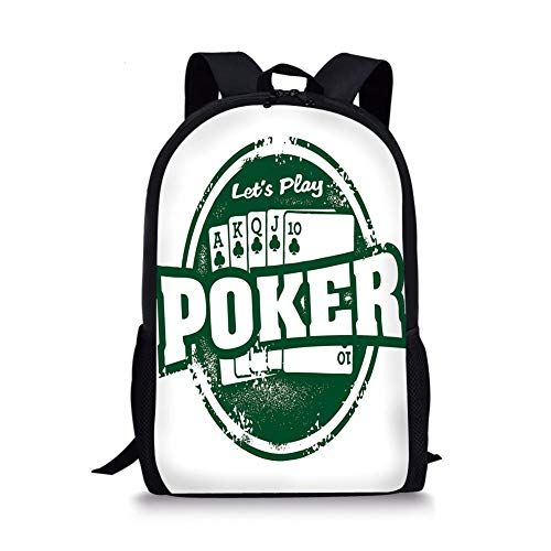 School Bags Poker Tournament Decorations,Lets Play Poker Stamp Royal Flush Grunge Vintage Full House,Green White for Boys&Girls Mens Sport Daypack -
