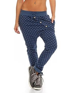 Malito Pantaloni Boyfriend en el Punto-Design Baggy Aladin Bombacho Sudadera Yoga 8520 Mujer Talla Única (Azul)