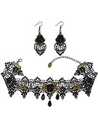 Schwarze Rose Spitze Gothic Lolita Halskette Chocker Kette Ohrring Set