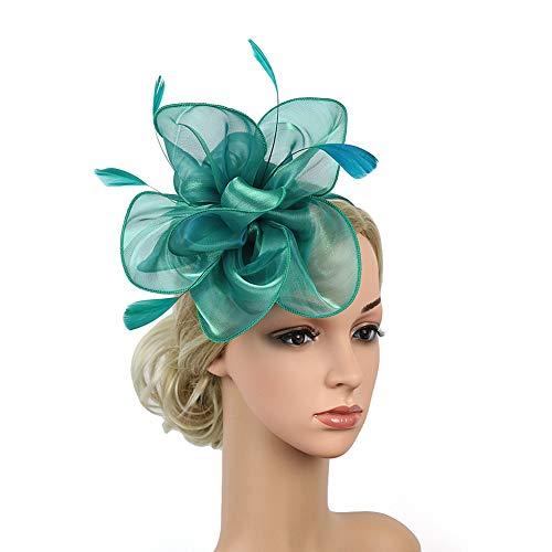 Homeofying Fascinator/Fascinator/Kopfbedeckung, mit Federn, Blumen-Netz, Haarspange