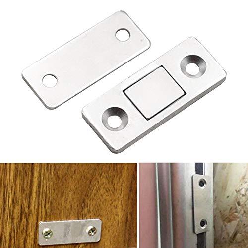 Magnetische Türverschluss Edelstahl Heavy Duty Catch für Küche Bad Schrank Kleiderschrank Verschlüsse Schranktür Schubladenverschluss (Silber, 2-Pack)