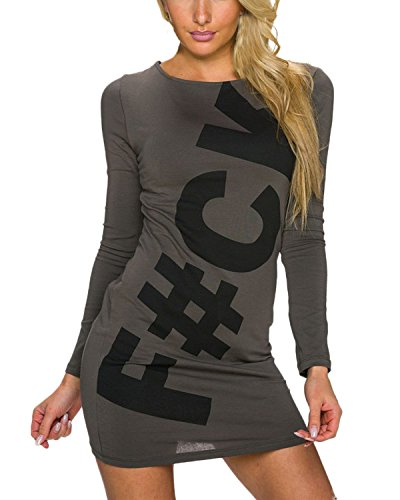 Auxo Damen Langarm Bodycon Zipper Party Langshirt Tunika Slim Mini Kurz Kleider Tops Kaffee