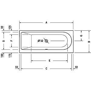 Bañera Duravit Darling New 160x70cm, inclinación hacia atrás a la Izquierda, 700238, versión empotrada – 700238000000000