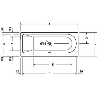 Duravit bañera Darling New 1600 x 700 mm, la instalación de la versión, RS a la izquierda, de colour blanco, 700238000000000