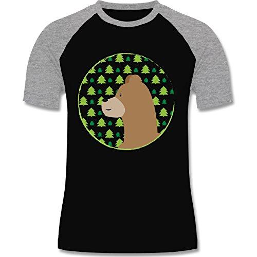 Wildnis - Tiermotiv Bär - zweifarbiges Baseballshirt für Männer Schwarz/Grau Meliert