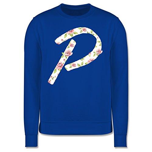 Anfangsbuchstaben - P Rosen - Herren Premium Pullover Royalblau