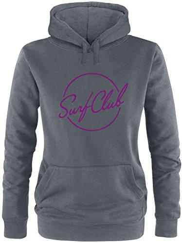 EZYshirt® Surfclub Damen Hoodie Anthrazit/Violett