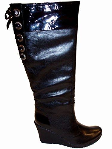 Cafe Noir Damen Keilstiefel Leder und Lackleder SKB943 schwarz Schwarz