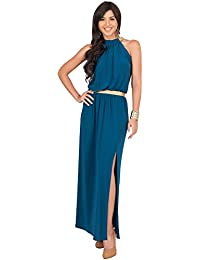 KOH KOH® Damen Ärmellose Nackenband Abnehmend Cocktail Maxikleid Lang Sommer Gown