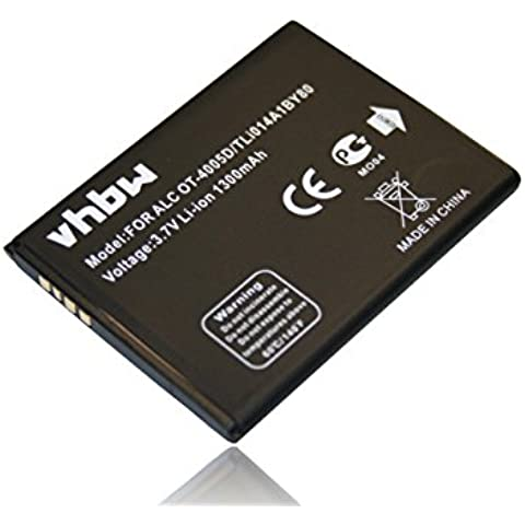 Batteria Li-ion vhbw 1300 mAh (3,7 V) Per Smartphone Cellulare Alcatel OT-4010, OT-4010D, OT-4030, OT-4030D, OT-4030A come TLi014A1BY80.