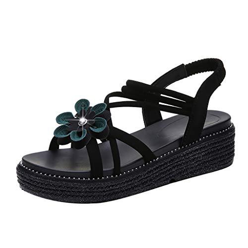 ❤Eaylis Damen SandalenDickes Unteres Blumenkreuz Sommer Strand Schuhe Hausschuhe Stilvoll und elegant