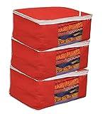 #10: Kuber Industries Non woven Saree cover Bag Set of 3 Pcs /Wardrobe Organiser/Regular Clothes Bag Red-19185