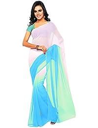 Aruna Sarees Women's Chiffon Saree With Blouse Piece (Multi-Coloured)