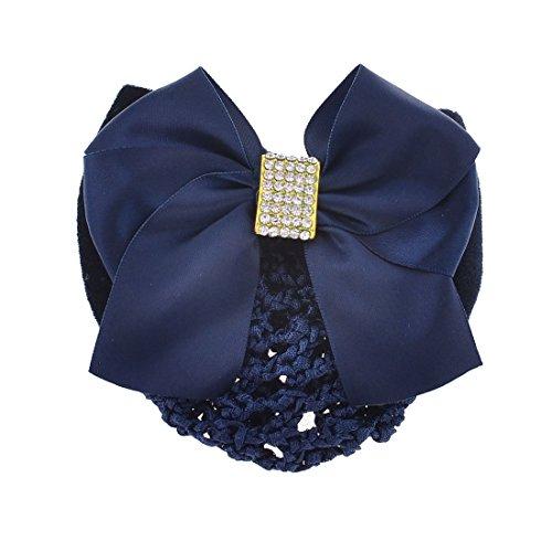 Lady Polyester Samt bowtie Dekor Braid Haarnetz Haarspange Royal Blue - Royal Blue Bowties