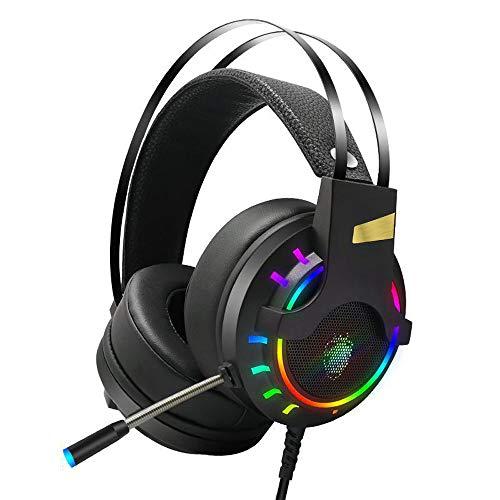 DNACC Gaming Headset LED-Licht Musik Kopfhörer Omnidirektionaler Tonabnehmer HD-Mikrofon mit Drehgeräu Schunter Drückung Headphone 40mm Treiber 7.1 Surround Sound Effekt für PS4/XBox One/PC/Mac