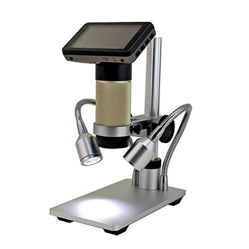 Wisamic HDMI Digital Mikroskop 10x-300x optischer Zoom 1920x1080P Auflösung mit Workbench, LED-Leuchten und LCD-Display