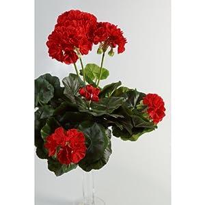 artplants.de Decorativo Geranio MIA en Vara, Rojo, 35cm, Ø 30cm – Planta Artificial – Flor sintética