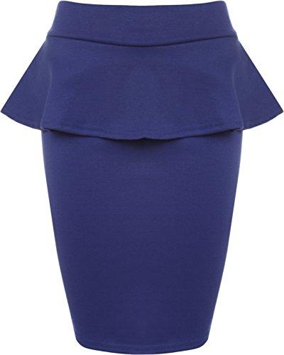 Authentic Blau Jersey (WearAll - Damen Schmucklos Peplum Kurz Mini Elastisch Rock Bodycon Rüsche Skirt - Blau - 40-42)