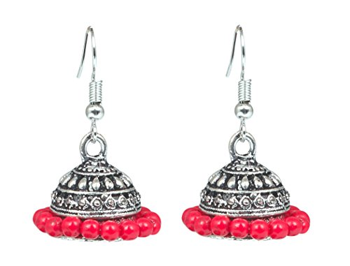 Sansar India Oxidized Red Beads Jhumka Jhumki Earrings for Girls and Women  available at amazon for Rs.129