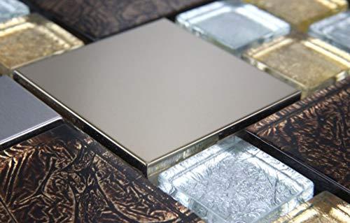 mosaikmuster Glasmosaik Mosaikfliesen Glas Edelstahl Gold Braun Getönten Schwarz neu 15x15cm